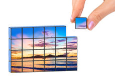 Hand and seascape (my photo) puzzle Royalty Free Stock Image