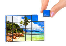 Hand and seascape (my photo) puzzle Royalty Free Stock Images