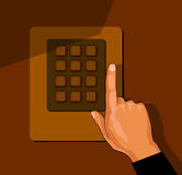 Hand with security keypad buttons, cartoon vector. Hand pressing buttons of electronic security lock system, cartoon illustration Royalty Free Stock Photos