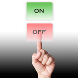 Hand select on /off touch screen. Hand select on /off Hi technology touch screen Stock Photography