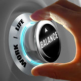 Hand selecting a balance between work and life. Concept. 3D Rendering Royalty Free Stock Photos