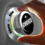 Hand selecting a good or a bad choice. Concept. 3D Rendering Royalty Free Stock Photos