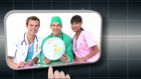 Hand selecting various medical images Royalty Free Stock Photo