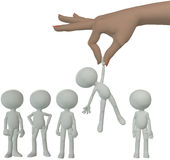 Hand selects cartoon person from group of people. A female hand to find and choose a 3D person to dangle above a line of cartoon people Royalty Free Stock Photography