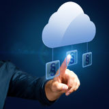 Hand selects an paragraph article. Related to the cloud Royalty Free Stock Images