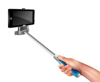 Hand With Selfie Stick. Hand holding blue selfie stick with black phone on white background realistic vector illustration Royalty Free Stock Photos