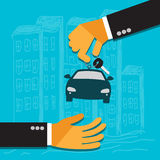 Hand of the seller holds key for car and gives to buyer, flat design, vector, illustration. Hand of the seller holds key for car and gives to buyer Stock Photo