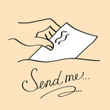 Hand sending a letter Royalty Free Stock Images
