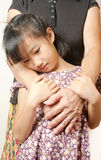 Hand of senior hugging with her child. Asian llttle girl embrace Stock Photos