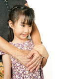Hand of senior hugging with her child. Asian llttle girl embrace Royalty Free Stock Image