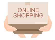Hand sent a brown cardboard box online shopping, e-commerce concept vector Stock Images