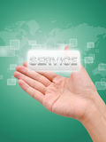 Hand with service button royalty free stock image