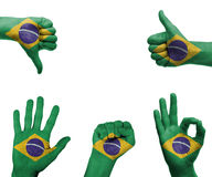 Hand set with the flag of Brazil Royalty Free Stock Photography