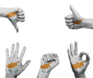 Hand set with the flag of Cyprus Stock Photography