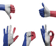 Hand set with the flag of France Royalty Free Stock Photography