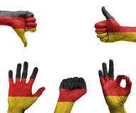 Hand set with the flag of Germany Stock Photos