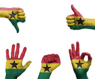 Hand set with the flag of Ghana. A set of hands with different gestures wrapped in the flag of Ghana Royalty Free Stock Photography