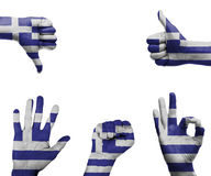 Hand set with the flag of Greece Stock Images