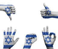 Hand set with the flag of Israel Stock Images