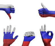 Hand set with the flag of Russia. A set of hands with different gestures wrapped in the flag of Russia Royalty Free Stock Image
