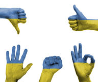 Hand set with the flag of Ukraine Royalty Free Stock Photography