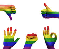 Hand set with the gay pride flag Stock Images