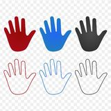 Hand set icons in different colors and linear design, stroke. illustration on transparent background. royalty free illustration