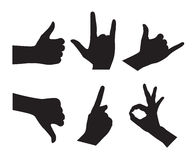 Hand Set Silhouettes Royalty Free Stock Images