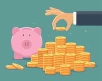 Hand setzte Münze zum Geldtreppenhaus Stockbilder