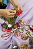 Hand sewing and cloth dolls Royalty Free Stock Image