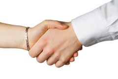 Hand shake. Between a woman and a man Royalty Free Stock Images