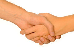 Hand shake. With female and male hand Royalty Free Stock Photos