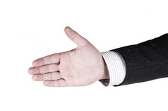 Hand shake. A businessman wants to shake your hand royalty free stock image