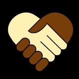 Hand shake. Between black and white man, heart shaped symbol Stock Photos
