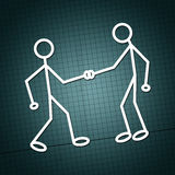 Hand shake. Illustration of two humanoid figures  shaking hands and greeting each other over a white paper texture background Royalty Free Stock Photo