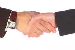 Hand shake. Of the business men and the women Royalty Free Stock Image