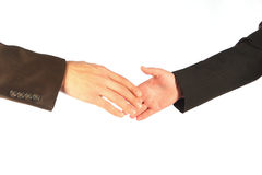 Hand shake. Of the business men and the women Royalty Free Stock Images