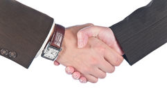 Hand shake. Of the business men and the women Royalty Free Stock Photography