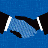 Hand shake. With digital concept Stock Photography