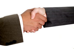 Hand shake. Business man and woman shaking hands Royalty Free Stock Photos