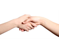 Hand shake. On white isolated a background Royalty Free Stock Images