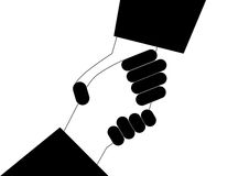 Hand shake. Silhouette on isolated background Royalty Free Stock Photography