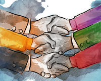 Hand shake business concept of partnership deal agreement together lot of hand as a team multilateral trade Royalty Free Stock Image