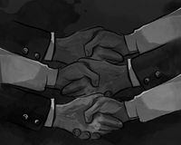 Hand shake business concept of partnership deal agreement together lot of hand as a team multilateral trade Stock Photography