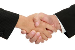 Hand shake businessman and a businesswoman Royalty Free Stock Photo