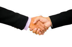 Hand shake between a businessman and a businesswoman isolated on Stock Photography