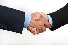 Hand shake between a businessmans isolated on whit Stock Photo