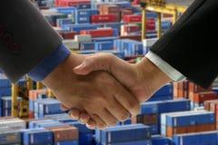 Hand shake at cargo port Royalty Free Stock Photos