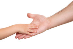 Hand shake of the child and father Royalty Free Stock Photo