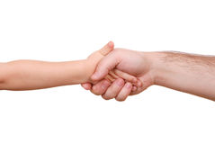 Hand shake of the child and father Royalty Free Stock Image